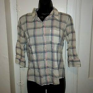 American Eagle Vintage Sheer Plaid Shirt